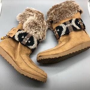 POP fur suede southwest print strap booties